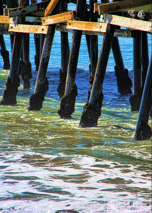 San Clemente Greeting Card featuring the photograph San Clemente Pier by Mariola Bitner