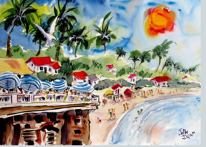 John Dunn Greeting Card featuring the painting San Clemente Pier View by John Dunn