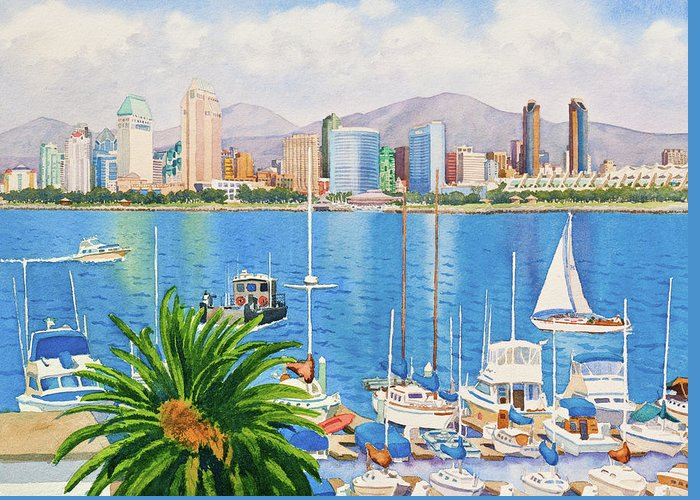 San Diego Greeting Card featuring the painting San Diego Skyline by Mary Helmreich