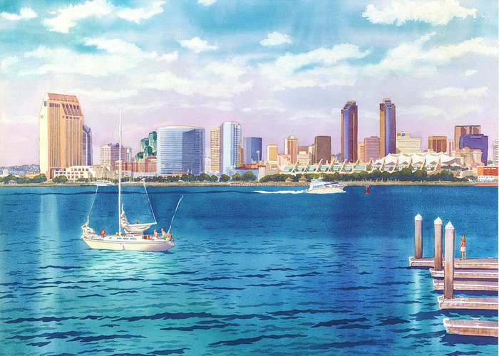 San Diego Greeting Card featuring the painting San Diego Skyline And Convention Ctr by Mary Helmreich