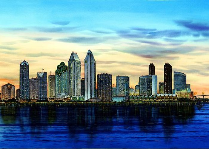 San Diego Paintings Greeting Card featuring the painting San Diego Skyline And Coronado At Dusk U.s.a by John YATO