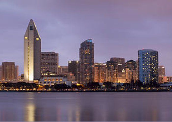 3scape Photos Greeting Card featuring the photograph San Diego Skyline At Dusk Panoramic by Adam Romanowicz
