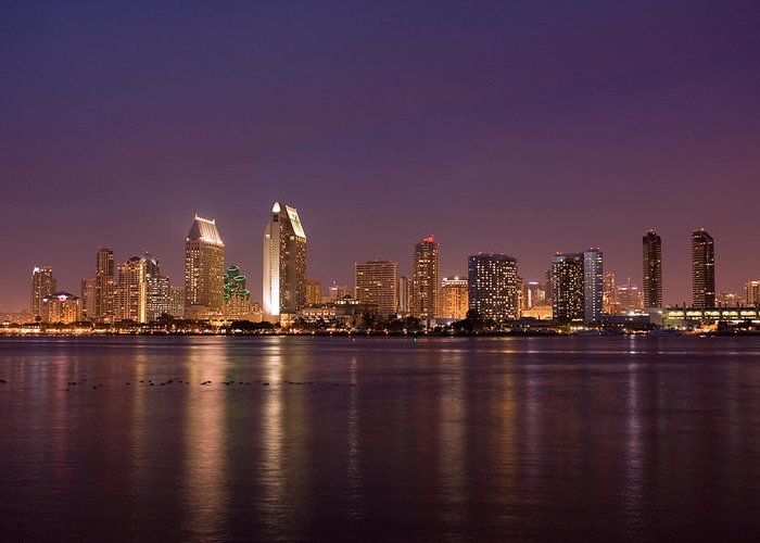 San Diego Greeting Card featuring the photograph San Diego Skyline At Night by Nick Buchanan