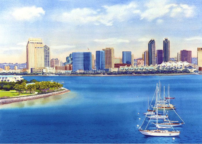 San Diego Greeting Card featuring the painting San Diego Skyline with Meridien by Mary Helmreich