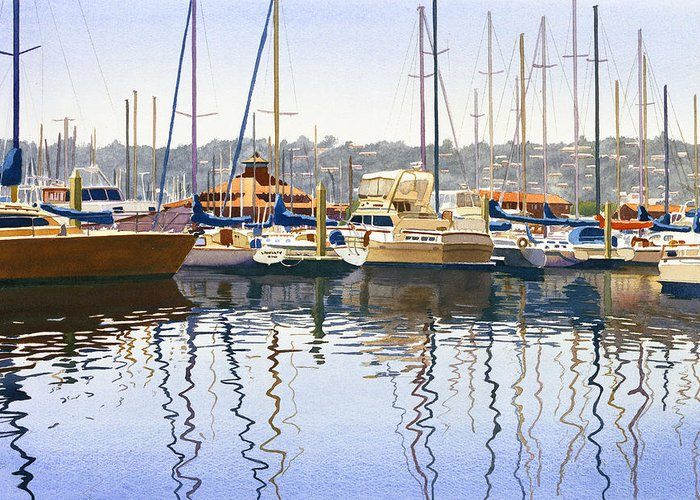 San Diego Greeting Card featuring the painting San Diego Yacht Club by Mary Helmreich