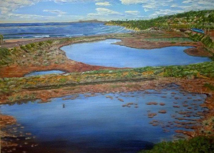 Solana Beach Greeting Card featuring the painting San Elijo Lagoon by Niko Sanchez