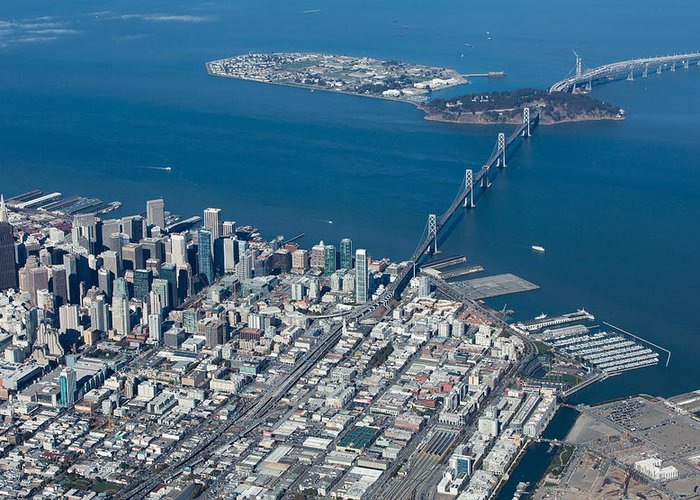 San Greeting Card featuring the photograph San Francisco Bay Bridge Aerial Photograph by John Daly
