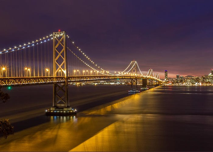 San Francisco Greeting Card featuring the photograph San Francisco Bay Bridge by Pierre Leclerc Photography