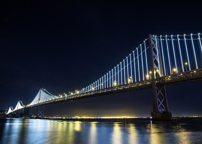 California Greeting Card featuring the photograph San Francisco Bay Bridge With Led Lights by Halbergman