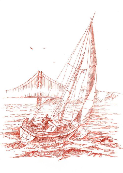 Bay Bridge Drawings Greeting Cards