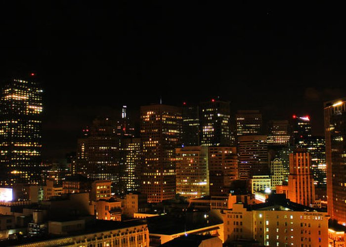San Francisco Greeting Card featuring the photograph San Francisco By Night by Cedric Darrigrand