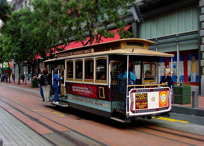 Cable Greeting Card featuring the photograph San Francisco Cable Car by SFPhotoStore