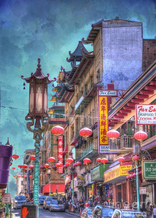 Architecture Greeting Card featuring the photograph San Francisco Chinatown by Juli Scalzi
