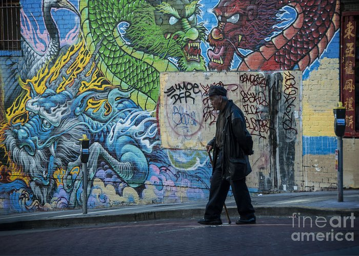 Art Greeting Card featuring the photograph San Francisco Chinatown Street Art by Juli Scalzi