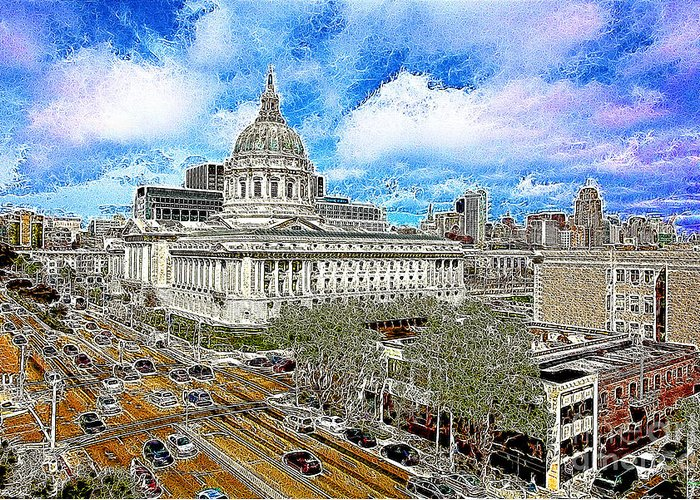 San Francisco Greeting Card featuring the photograph San Francisco City Hall 5d22507 Photoart by Wingsdomain Art and Photography