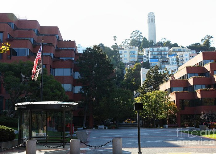 San Francisco Coit Tower Greeting Card featuring the photograph San Francisco Coit Tower At Levis Plaza 5d26186 by Wingsdomain Art and Photography