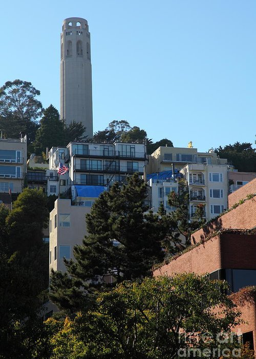 San Francisco Coit Tower Greeting Card featuring the photograph San Francisco Coit Tower At Levis Plaza 5d26192 by Wingsdomain Art and Photography