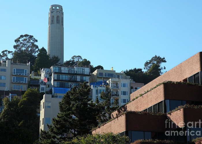 San Francisco Coit Tower Greeting Card featuring the photograph San Francisco Coit Tower At Levis Plaza 5d26193 by Wingsdomain Art and Photography