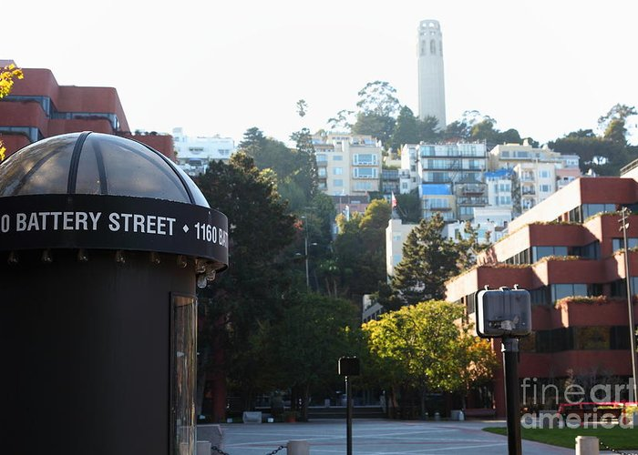 San Francisco Coit Tower Greeting Card featuring the photograph San Francisco Coit Tower At Levis Plaza 5d26212 by Wingsdomain Art and Photography