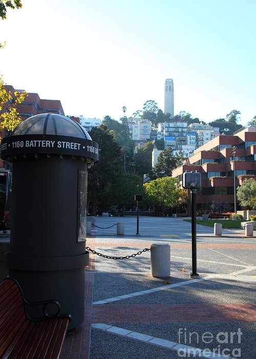 San Francisco Coit Tower Greeting Card featuring the photograph San Francisco Coit Tower At Levis Plaza 5d26213 by Wingsdomain Art and Photography