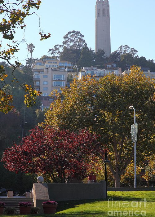 Wingsdomain Greeting Card featuring the photograph San Francisco Coit Tower At Levis Plaza 5d26216 by Wingsdomain Art and Photography
