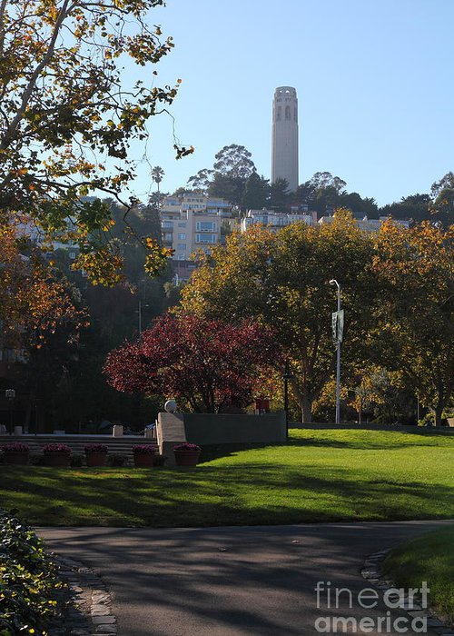 San Francisco Coit Tower Greeting Card featuring the photograph San Francisco Coit Tower At Levis Plaza 5d26217 by Wingsdomain Art and Photography