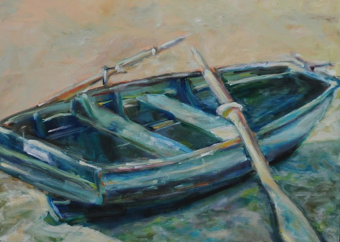 Boat Greeting Card featuring the painting San Francisco Dinghy by Susie Jernigan