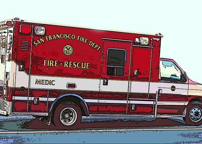 San Francisco Fire Dept. Medic Vehicle Greeting Card featuring the photograph San Francisco Fire Dept. Medic Vehicle by Samuel Sheats
