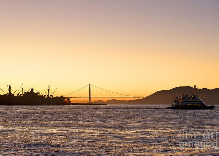 San Francisco Harbor At Pier 39 Greeting Card featuring the photograph San Francisco Harbor Golden Gate Bridge At Sunset by Artist and Photographer Laura Wrede