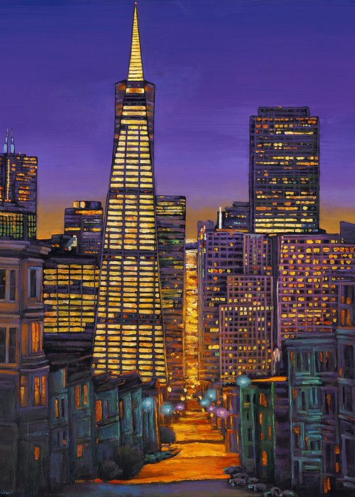 City Lights Paintings Greeting Cards