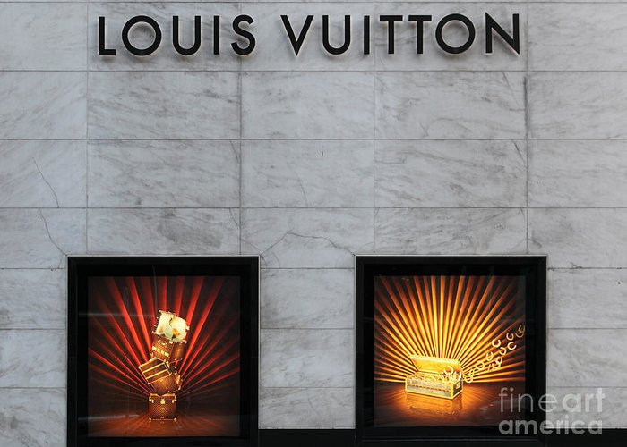 San Francisco Greeting Card featuring the photograph San Francisco Louis Vuitton Storefront - 5d20546-2 by Wingsdomain Art and Photography