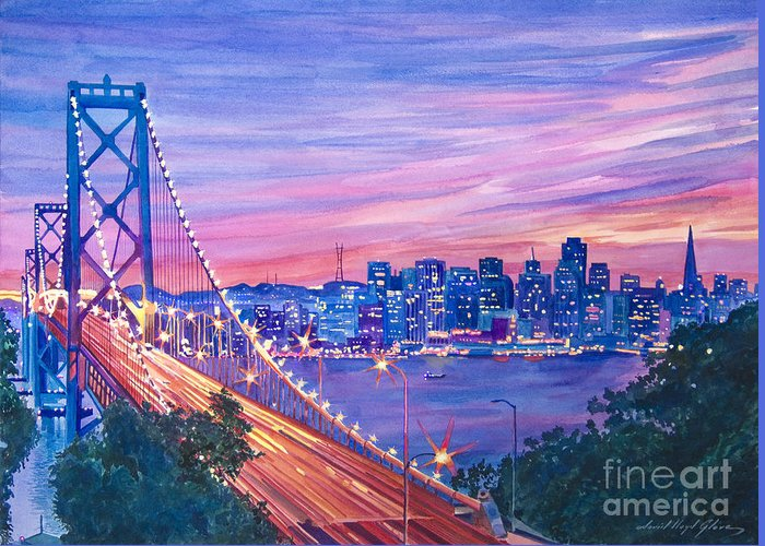 Bridges Greeting Card featuring the painting San Francisco Nights by David Lloyd Glover