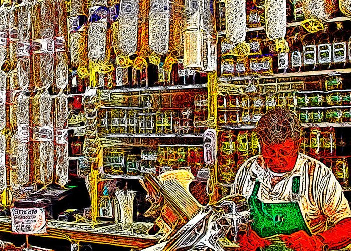 Wingsdomain Greeting Card featuring the photograph San Francisco North Beach Deli 20130505v2 Square by Wingsdomain Art and Photography
