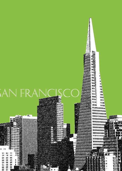 Architecture Greeting Card featuring the digital art San Francisco Skyline Transamerica Pyramid Building - Olive by DB Artist