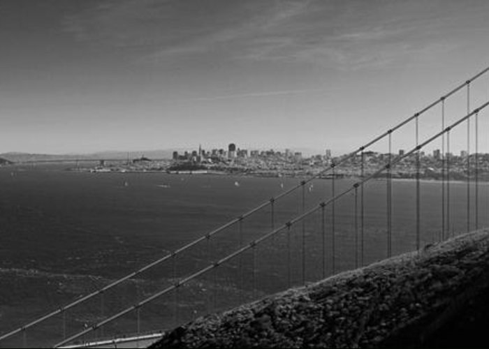 San Francisco Greeting Card featuring the photograph San Francisco Through The Golden Gate Bridge by Twenty Two North Photography