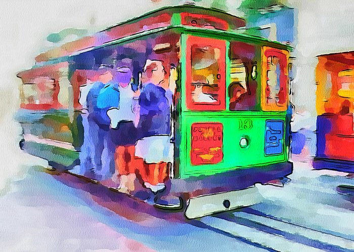 San Greeting Card featuring the digital art San Francisco Trams 3 by Yury Malkov