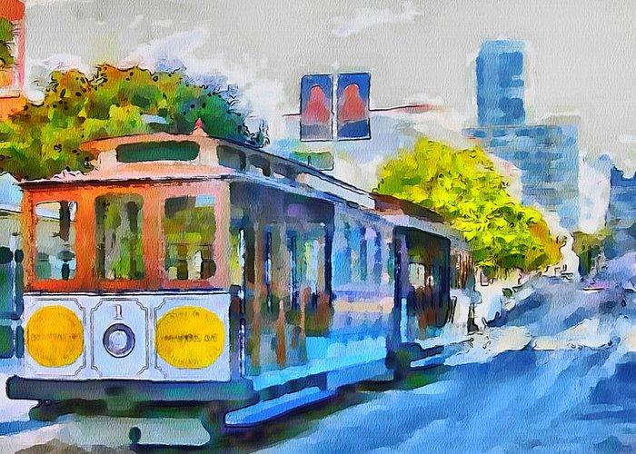 San Greeting Card featuring the digital art San Francisco Trams 4 by Yury Malkov