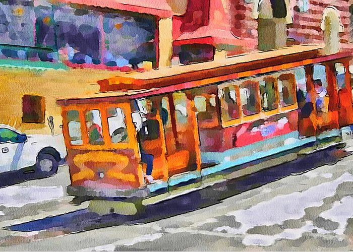 San Greeting Card featuring the digital art San Francisco Trams 5 by Yury Malkov