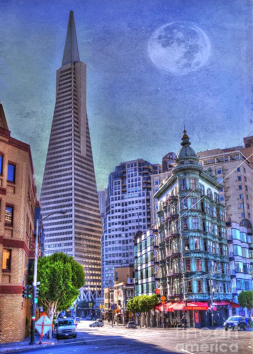 Architectural Feature Greeting Card featuring the photograph San Francisco Transamerica Pyramid And Columbus Tower View From North Beach by Juli Scalzi