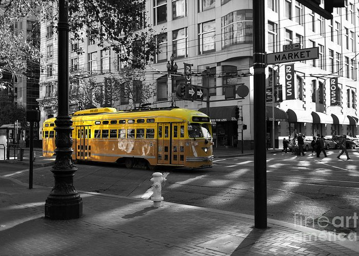 San Francisco Greeting Card featuring the photograph San Francisco Vintage Streetcar On Market Street - 5d19798 - Black And White And Yellow by Wingsdomain Art and Photography