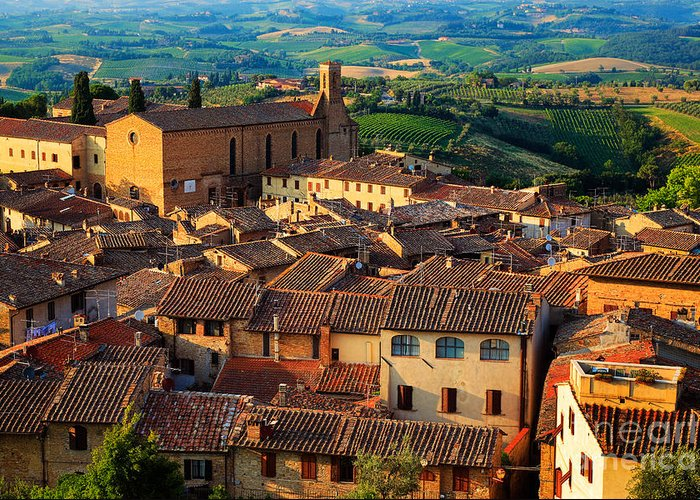 Europe Greeting Card featuring the photograph San Gimignano From Above by Inge Johnsson