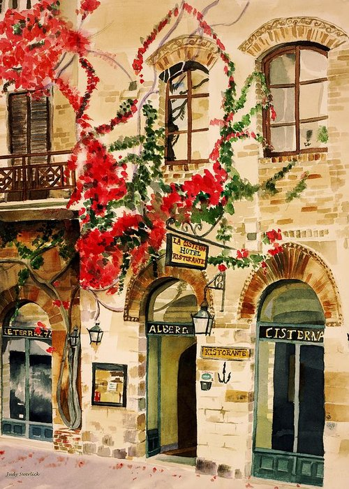 Award-winning Greeting Card featuring the painting San Gimignano by Judy Swerlick