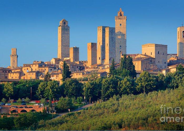 Europe Greeting Card featuring the photograph San Gimignano Skyline by Inge Johnsson