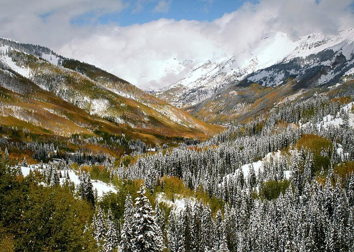 San Greeting Card featuring the photograph San Juan Mountains After Recent Snowstorm by Jetson Nguyen