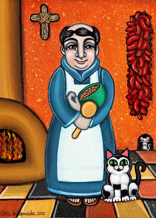 San Pascual Greeting Card featuring the painting San Pascual And Felix by Victoria De Almeida