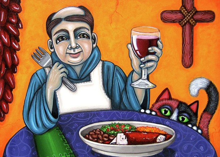 San Pascual Greeting Card featuring the painting San Pascual Cheers by Victoria De Almeida