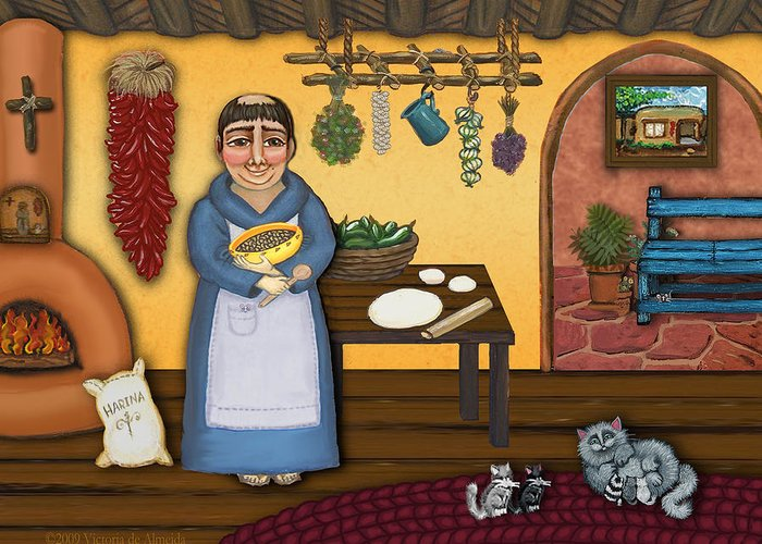 San Pascual Greeting Card featuring the painting San Pascuals Kitchen 2 by Victoria De Almeida