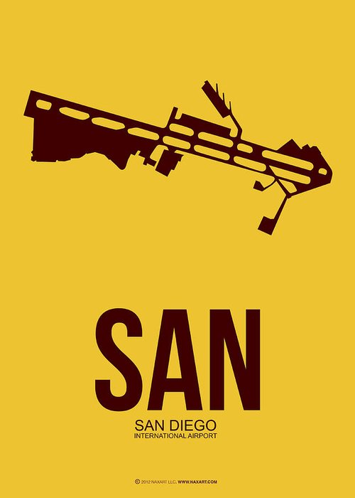 San Diego Greeting Card featuring the digital art San San Diego Airport Poster 1 by Naxart Studio