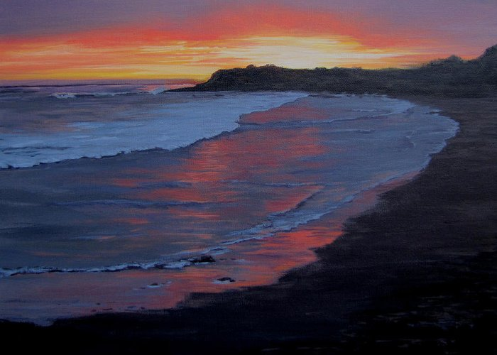 Beach Greeting Card featuring the painting San Simeon Sunset by Karen Ilari
