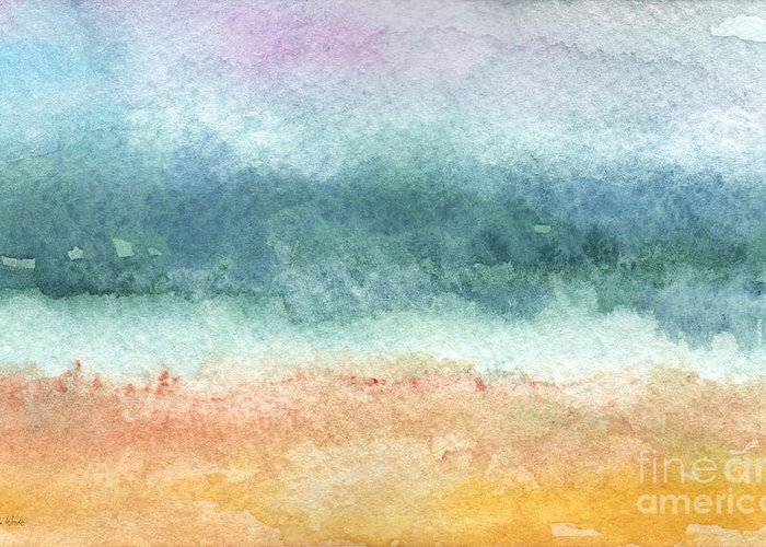 Abstract Greeting Card featuring the painting Sand And Sea by Linda Woods